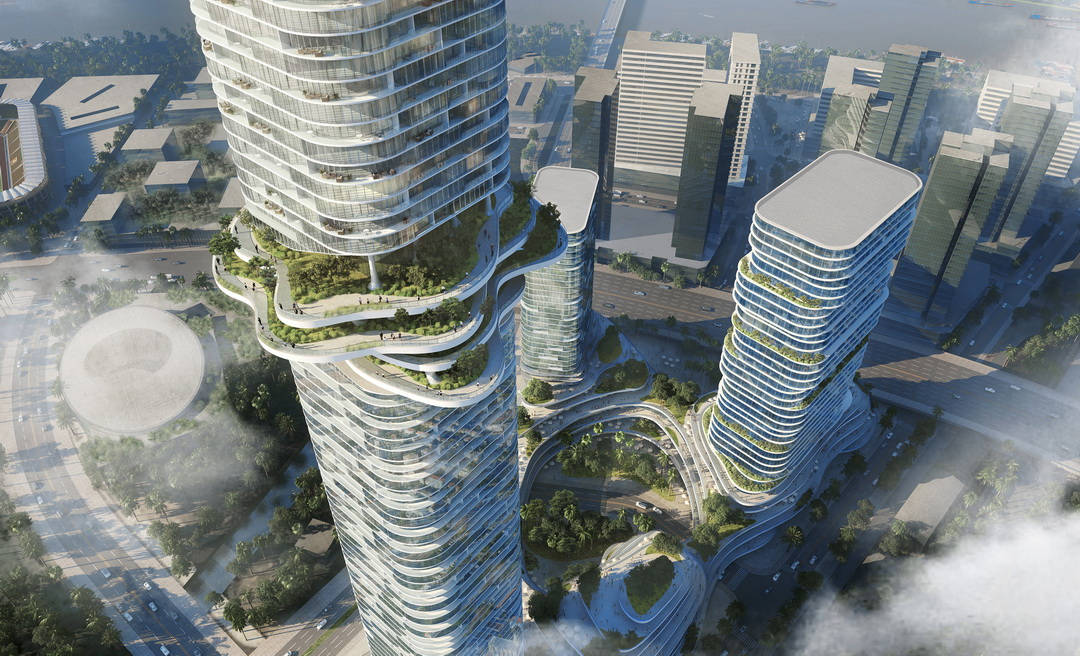 Empire City Tower gồm 3 tòa nhà chọc trời với tòa tháp trung tâm cao 333 m