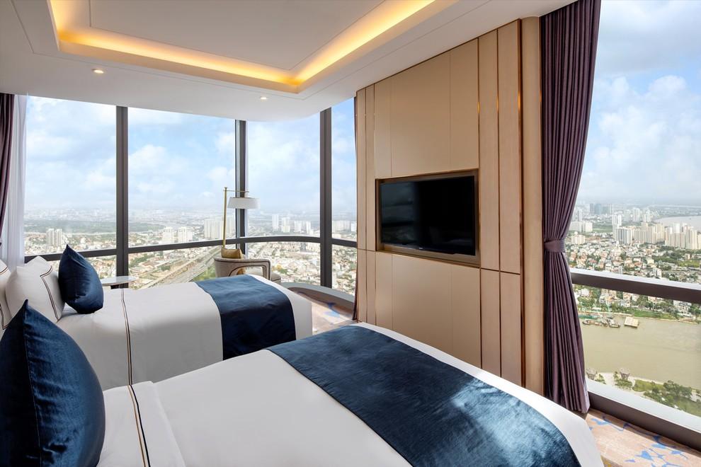 khung cảnh thành phố nhìn từ phòng nghỉ khách sạn Vinpearl Luxury Landmark81